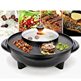 Anddoa 220V 2 in 1 Electric BBQ Grill Teppanyaki Steamboat Pan Hot Pot Kitchen Party Supplies