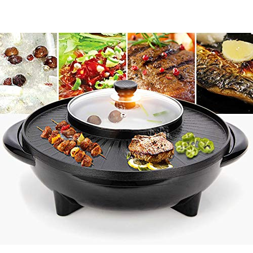 Anddoa 220V 2 in 1 Electric BBQ Grill Teppanyaki Steamboat Pan Hot Pot Kitchen Party Supplies ()