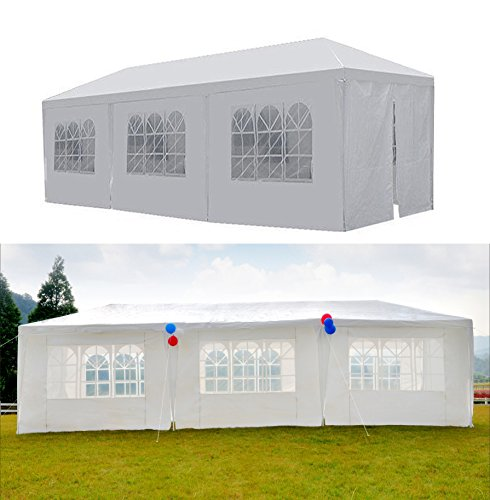 GOJOOASIS Canopy Tent Wedding Party Tent 10' x 30' with 8 Removable Walls Heavy Duty Outdoor (10x20 White Party Tent Gazebo)