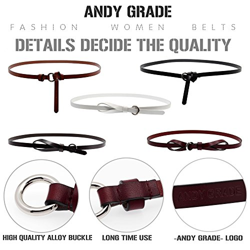 Set of 5 Women's Genuine Cowhide Leather Belts Stylish Thin Dresses Fashion Vintage Casual Skinny Belt for Jeans Shorts Pants Summer for Women With Alloy Buckle By ANDY GRADE by ANDY GRADE (Image #2)