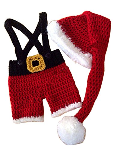 Pinbo Baby Boys Photography Prop Crochet Knitted Christmas Hat Shorts Overalls