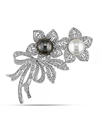 White South Sea and Black Tahitian Cultured Pearl and Diamond Floral Brooch 18k White Gold 0.05ct