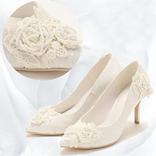Dress Wedding High Heel Sandals Prom Pearl Bride Lace ' S Women White Thin Light VIVIOO Shoes Dinner Shoes Handmade Party 7 Embroidery Heeled 7O8xnwWwp