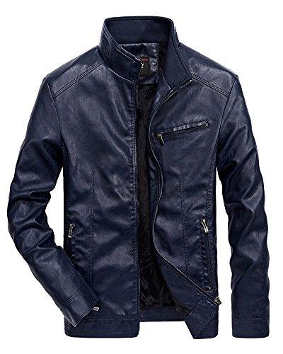 Solido Cappotto Basic Addensare Caldo Marino Uomo Di Blu Pelle Giacca Colore Biker nYRqfz7w