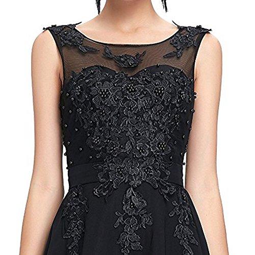 O Bridesmaid A DKBridal Dress Neck Evening Beaded Black Sequins B Line Prom Chiffon Gown dHUHwv