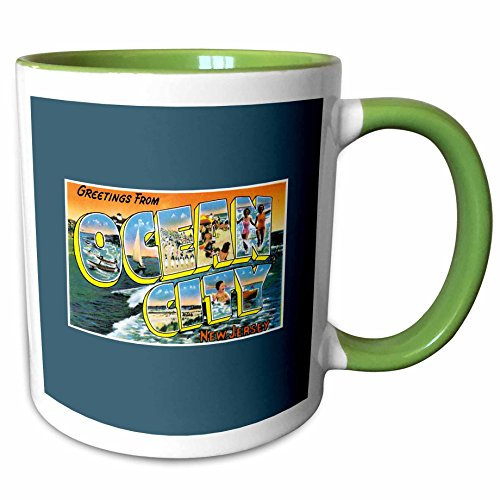 3dRose BLN Vintage US Cities and States Postcards - Greetings from Ocean City New Jersey Scenic Postcard Reproduction - 11oz Two-Tone Green Mug - Jersey Outlets City New