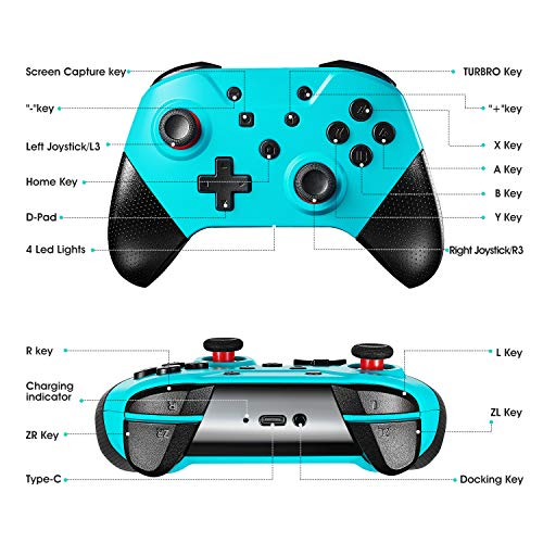 Switch Pro Controller for Nintendo Switch and PC,Comdigio Wireless Switch Controller Gamepad Joystick with NFC and Home Wake-Up Function,Support Gyro Axis, Turbo and Dual Vibration.Blue