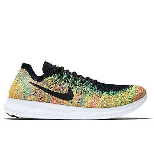 Nike Free Rn Flyknit 2017, Zapatillas de Running para Hombre Multicolor (Black/black-blue Lagoon-hot Punch-volt)