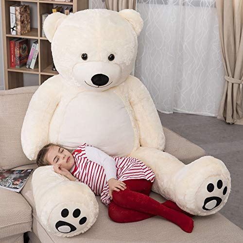 WOWMAX 6 Foot Giant Huge Life Size Teddy Bear Daney Cuddly Stuffed Plush Animals Teddy Bear Toy Doll for Birthday Christmas Ivory 72 Inches