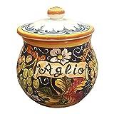 CERAMICHE D'ARTE PARRINI- Italian Ceramic Garlic Brings Jar Holder Hand Painted Made in ITALY Decorated Grape Tuscan Art Pottery