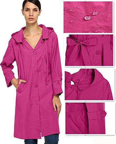Corgy Women Plus Size Lightweight Raincoat Travel Hoodie Rain Jacket (Hood Plus)