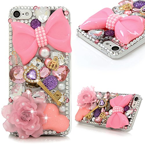 iPod 5 Case,iPod Touch 5 Case- MOLLYCOOCLE 3D Handmade Crystal Pink Flower Butterfly Bow Shiny Glitter Sparkly Diamond Rhinestone Clear Hard Shell Ski…