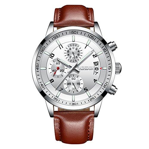 Chronograph White Leather - KASHIDUN Men's Watches Sports Military Quartz Wristwatches Waterproof Chronograph Brown Leather Strap White Color 998-YBZP