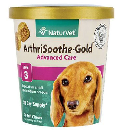 NaturVet Clinically Tested ArthriSoothe-GOLD Level 3 Advanced Joint Care for Dogs and Cats, 70 ct Soft Chews  , Made in USA