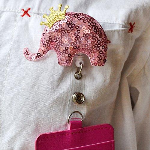 outlet Qinsuee Bling Cute Elephant Retractable ID Badge Reel