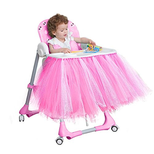 Lansian Tulle Tutu Table Skirt for 1st Birthday Girl High Chair Decorations Pink and Silver for Party, Wedding and Home Decoration (Pink&Silver, 39'' Length x 15.7'' Height) by Lansian (Image #2)