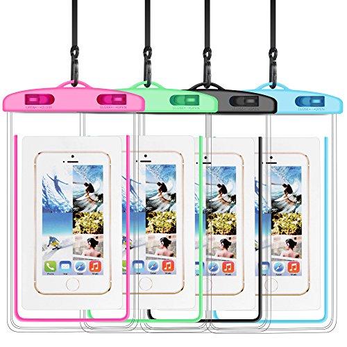 SENTLY Waterproof Case, New Type PVC Waterproof Phone Case, Universal Dry Bag for iPhone X/8/8 Plus/7/7 Plus/ Galaxy/ Google Pixel/ LG/ HTC (4-Pack)