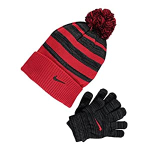 Kids' Nike Swoosh Pom Beanie Hat and Gloves Set