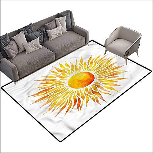 Rug Bathroom Mat Orange,Graphic Sunburst Watercolors 60