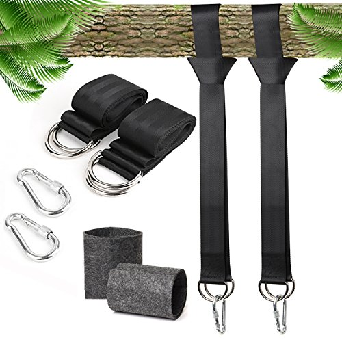 JDDZ Tree Swing Straps Hanging Kit, 5ft Adjustable Long Straps Holds 2000lbs with Safer Lock Snap Carabiner Hooks for Outdoor Tree Swings and Hammocks