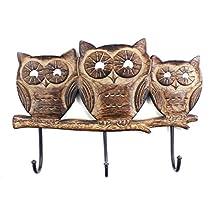 Owl Shaped ooden Coat Hooks Rack Wall Mounted Hat Bags Towel Robe Hanger 3 Hooks Multipurpose Home Storage Decor Handmade