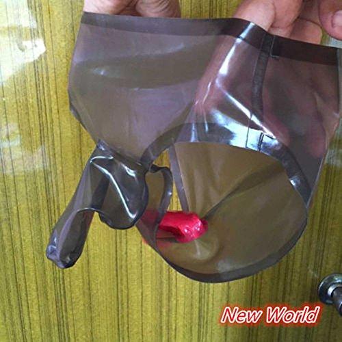 100% Sexy Natural Latex Briefs Shorts with Penis Condom Anus Condom ()