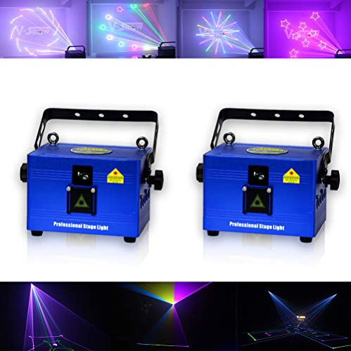 V-Show 1W RGB LED Animation Laser Lights, DMX 512 Laser Scanner Party, 2 Pack Programmable Projector Dj Light, 16/30 CH, For Disco Party House Stage Laser Xmas Show