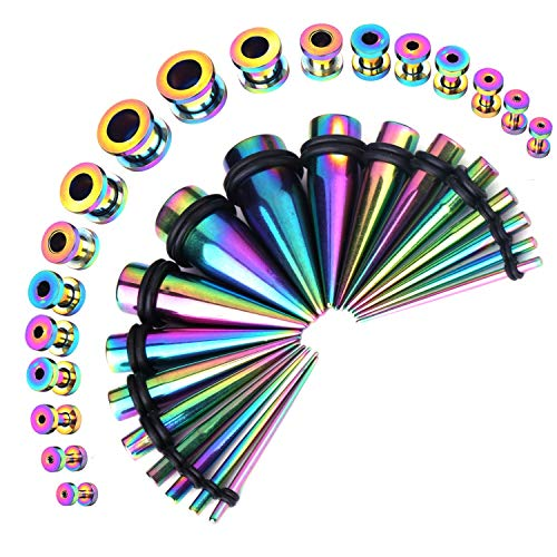 - BodyJ4You 36PC Gauges Kit Ear Stretching 14G-00G Rainbow Steel Taper Screw Fit Tunnel Plug Jewelry