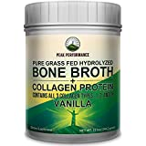 Vanilla Hydrolyzed Bone Broth + Collagen Protein Peptides Powder by Peak Performance. Contains All 3 Collagen Types 1, 2, and 3. Pure Pasture, Raised Grass Fed, Paleo Friendly, Gluten Free