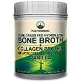 #6: VANILLA Hydrolyzed Bone Broth + Collagen Protein Peptides Powder By Peak Performance. Contains ALL 3 Collagen Types 1, 2, and 3. Pure Pasture, Raised Grass Fed, Paleo Friendly, Gluten & Dairy Free