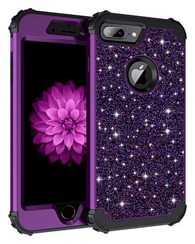Casetego Compatible iPhone 8 Plus Case,iPhone 7 Plus Case,Glitter Sparkle Bling Three Layer Heavy Duty Hybrid Sturdy Shockproof Protective Cover Case for Apple iPhone 8 Plus/7 Plus,Shiny Purple