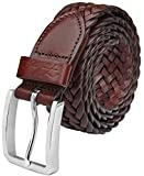 Falari Men's Braided Belt Leather Brown 38-40 9007-RBN-L
