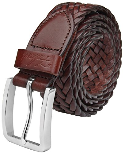 Falari Men's Braided Belt Leather Brown 42-44 9007-RBN-XL