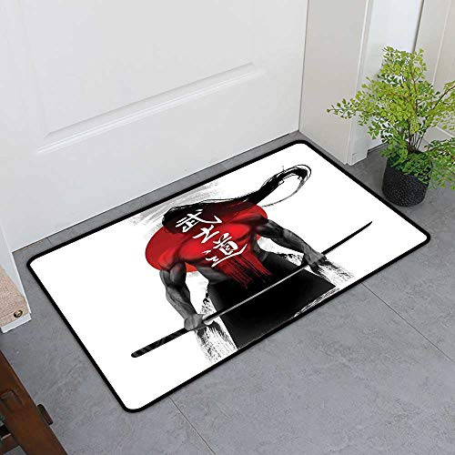 TableCovers&Home Commercial Door Mat, Japanese Custom Out-Imdoor Rugs for Kitchen, Samurai Figure Sunburst Background Ronin Japan Indigenous Cultures Theme (Red Black White, H16 x W24)
