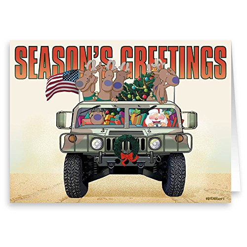 Army & Marine Christmas Card - Military 18 Cards & - Cards Military Boxed