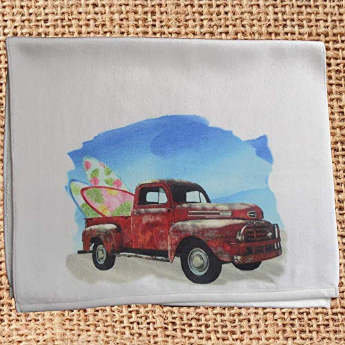 Surfboard Red Surf Decor - Vintage Old Red Truck with Surfboards Beach Hand Towel for Kitchen or Bath Beachy Decor Gift