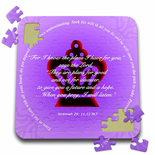 777images Designs Graphic Design Bible Verse - Crimson Crown on lavender background bible verses from Jerimiah Proverbs - 10x10 Inch Puzzle - Graphic Design Backgrounds