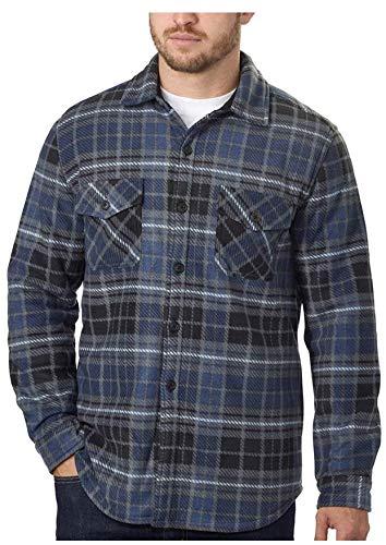 Men's Plaid Super Plush Jacket Shirt (Blue, ()