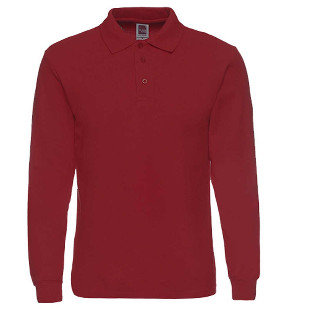Men's Long Sleeve Casual Solid Golf Polo Shirt,wine red,XL