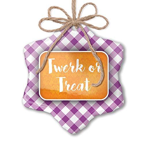NEONBLOND Christmas Ornament Twerk or Treat Halloween Orange Wallpaper Purple Plaid -