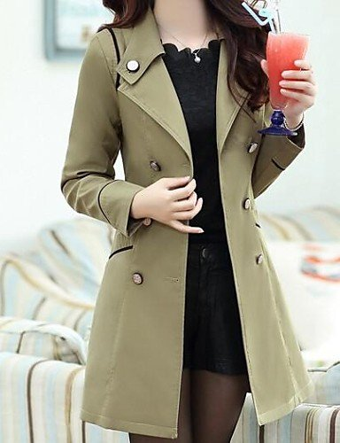 Xuanku Femmes 039;S Double Breasted Trench-Coat Slim Cravate (Plus De Couleurs) Khaki M