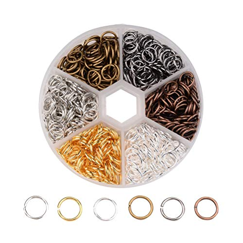 Lurrose 1 Box Jump Rings for Jewelry Making Supplies Open Closed Ring Hair Braid Rings Hair Accessories 10mm with Storage Box