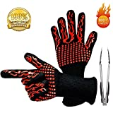 BUDDYGO BBQ Gloves Grill Gloves, Heat Resistant Up to 800 ° C Universal Size Oven Gloves Cooking Gloves for BBQ, Grill, Cooking, Baking, with One BBQ Tongs (Red)