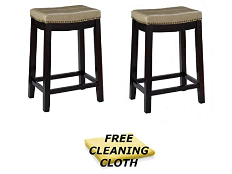 Sensational Linon Claridge Counter Stool 26 X 18 X 12 75 Set Of 2 Beige Espresso Finish Include Free Furniture Cleaning Cloth Andrewgaddart Wooden Chair Designs For Living Room Andrewgaddartcom