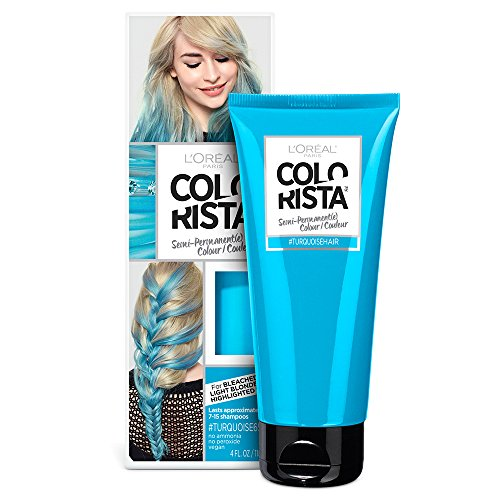 L'Oreal Paris Hair Color Colorista Semi-Permanent for Light Blonde or Bleached Hair, Turquoise (Turquoise Hair)