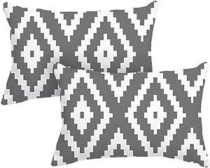 DEARCRAFT Set of 2 Grey Stripe Lumbar Throw Pillow Covers 12x20 inch Cozy Flannel Pillow Case for Sofa Livingroom Bedroom Car Farmhouse Soft Home Decor
