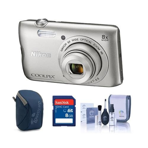 Nikon Coolpix A300 Digital Point & Shoot Camera, Silver – Bundle With Camera Case, 8GB SDHC Card, Cleaning Kit