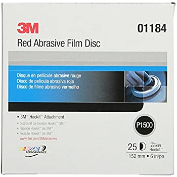 3M Hookit Red Finishing Film Abrasive Disc 260L, 01184, 6 in, P1500, 25 discs per carton