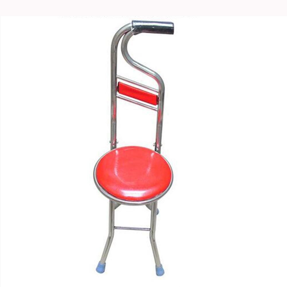 LPY-Siège pliable à béquille en acier inoxydable avec dossier 4 pieds, siège de canne pliant 2 en 1