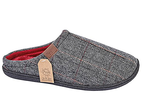 Mens Harrison Jo & Joe Tweed Faux Fur Lined Slip On Mules Slippers Size...